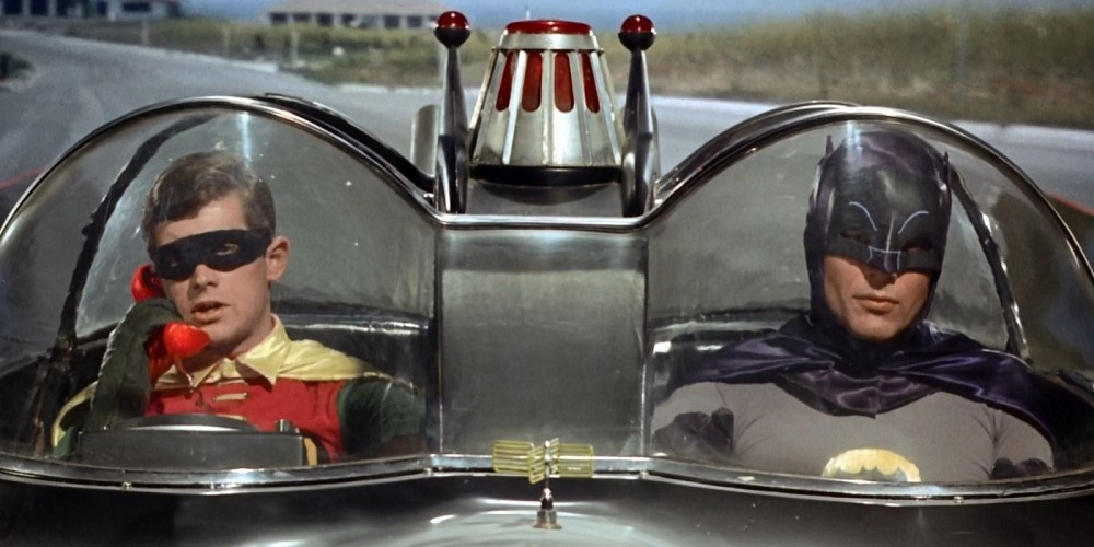 batman and robin in the batmobile